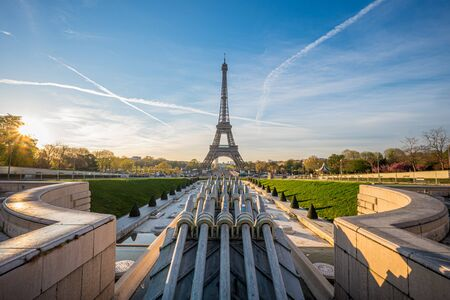 A view of Eiffel Tower with morning light from Palais de Chaillot in Paris, France Stock Photo