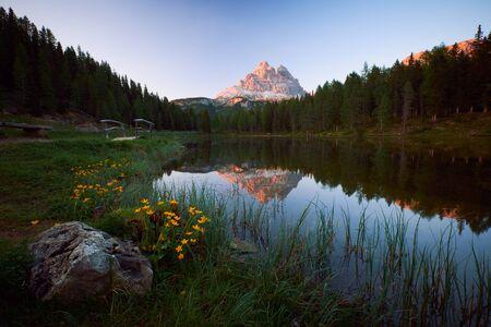 The landscape around lake Antorno (Lago di Antorno). The lake located in Dolomites area, Belluno Province, Italy