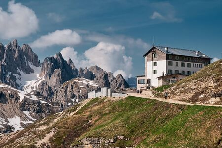 Landscape of The Three Peaks of Lavaredo (Tre Cime di Lavaredo), one of the most popular attraction in the Dolomites, Italy
