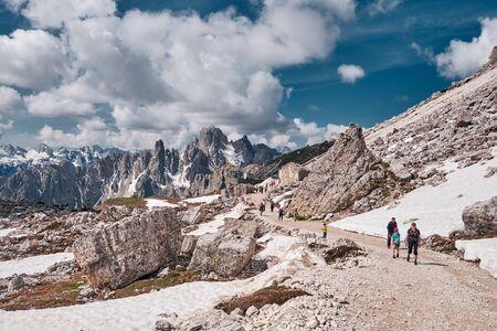 Landscape of The Three Peaks of Lavaredo (Tre Cime di Lavaredo), one of the most popular attraction in the Dolomites, Italy