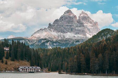 The Landscape of Lake Misurina, Located near Auronzo di Cadore Belluno, Italy Фото со стока