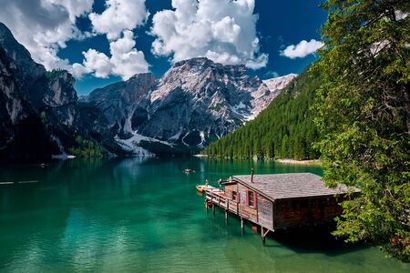 The landscape around Lake Braies or Pragser Wildsee located in Prags valley, Dolomites area, Italy