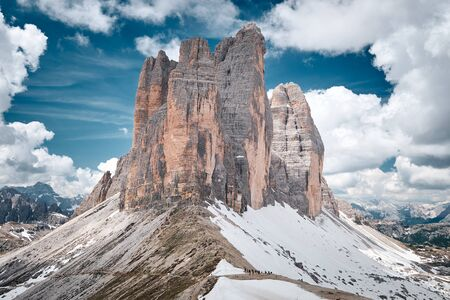 The landscape around Tre Cime di Lavaredo, one of the best-known mountain in the Alps located in Dolomites, Italy Banco de Imagens