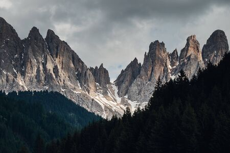 The landscape around Santa Magdalena Village. Located in Val di Funes, Dolomites area, Italy.