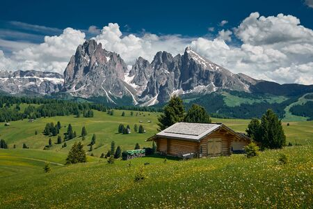 The landscape around Alpe di Siusi/Seiser Alm, the largest high-altitude Alpine meadow in Europe. Located in the Dolomites mountain range, South Tyrol, Italy