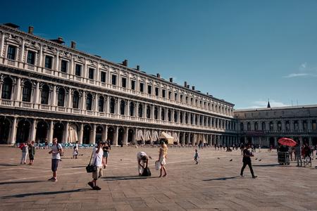 Venice, Italy - June 19, 2019: The landscape around St. Mark's Basilica and square in Venice city, Italy