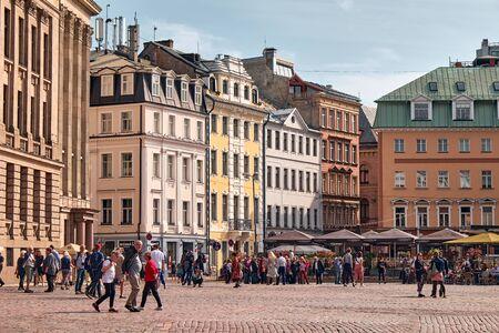 RIGA, LATVIA - SEP 10, 2019: The Building and Street Around Riga Old Town, Latvia Stock Photo