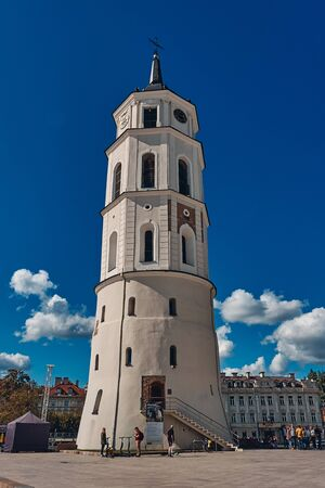 VILNIUS, LITHUANIA - SEP 6, 2019: The Landscape of Vilnius Cathedral and Bell Tower in Sunny Day, Vilnius Old Town, Lithuania