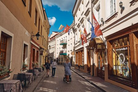 VILNIUS, LITHUANIA - SEP 6, 2019: The Landscape of Street and Building in Old Town District of Vilnius, Lithuania Stok Fotoğraf