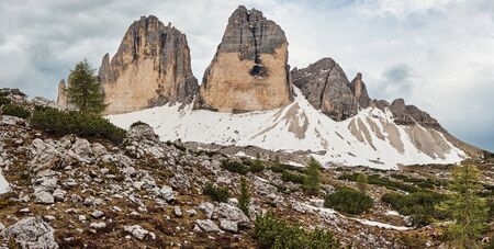 The Landscape of The Three Peaks of Lavaredo (Tre Cime di Lavaredo), one of the most popular attractions in the Dolomites, Italy Фото со стока