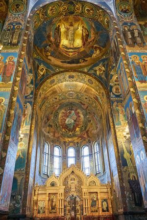 SAINT PETERSBURG, Russia - April 13, 2015: The Interior of The Church of the Savior on Spilled Blood in The City of Saint Petersburg, Russia Reklamní fotografie