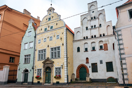 RIGA, LATVIA - SEP 10, 2019: The Exterior of Three Brothers, The Historical Landmark in Riga Old Town, Latvia