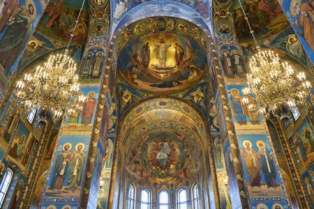 SAINT PETERSBURG, Russia - April 13, 2015: The Interior of The Church of the Savior on Spilled Blood in The City of Saint Petersburg, Russia