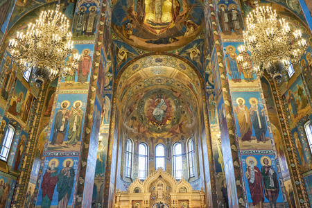 SAINT PETERSBURG, Russia - April 13, 2015: The Interior of The Church of the Savior on Spilled Blood in The City of Saint Petersburg, Russia Redakční