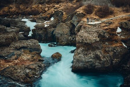Barnafoss Waterfall is also known as Bjarnafoss, located in in Western Iceland