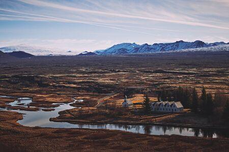 The landscape around Thingvellir national park, located on the northeast of Reykjavík city, Iceland 版權商用圖片