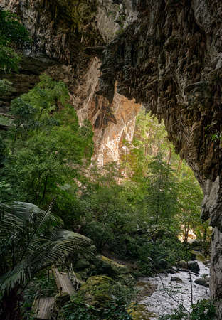 The landscape of Tham Tarn Lod Yai Cave in Kanchanaburi province, Thailand 免版税图像