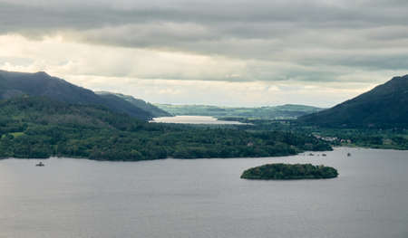 The Landscape of Derwentwater from Surprise View viewpoint near Keswick town, in Lake District, UK