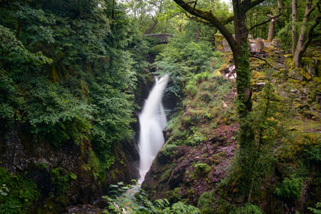 The landscape of Aira Force, a waterfall near Ullswater in Lake district, United Kingdom