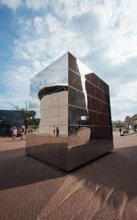 Amsterdam, Netherlands - 4 August, 2019: The exterior decorative of Van Gogh museum on a sunny day