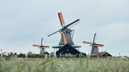 The landscape of windmills in Zaanse Schans village, Netherlands