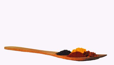 wooden spatula and spices