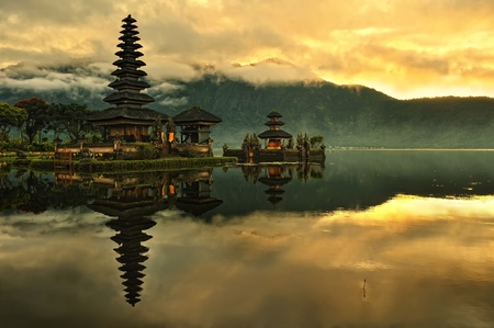 indonesia people: Bali Pura Ulun Danu Bratan Water Temple at sunrise  Stock Photo