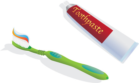 toothpaste: Toothbrush and toothpaste - color illustration Illustration