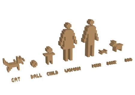 3d pixel silhouette family - illustration Vector