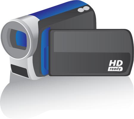blue vector hd camcorder - illustration Vector