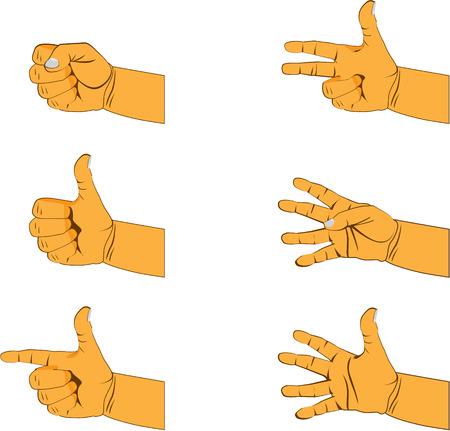 set of six hand gestures Vector