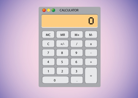Software calculator on desktop wallpaper - illustration Vector
