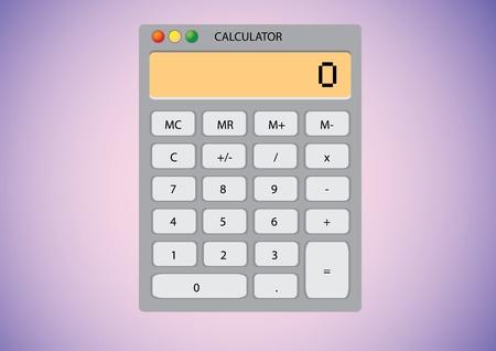 Software calculator on desktop wallpaper - illustration Vector