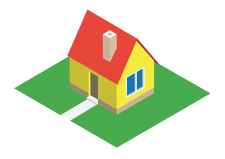 iso: Isometric house with lawn - illustration