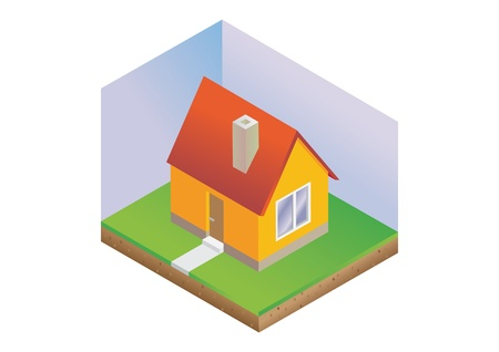 isometric house with green lawn and sky - illustration Vector