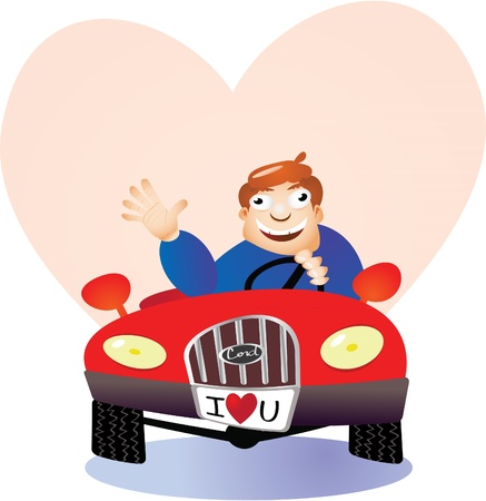 man in love driving car Stock Vector - 11495999