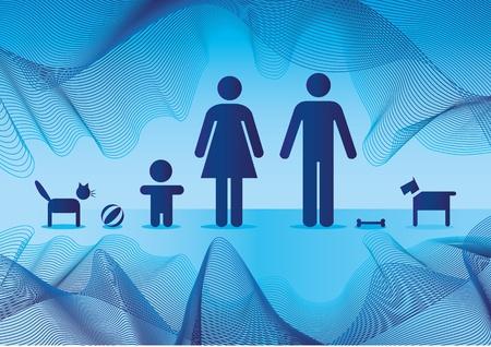 Basic family in blue - illustration Vector