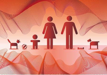 Basic family in red - illustration Vector