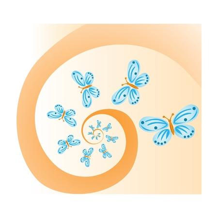 butterflies on spiral background - illustration Vector