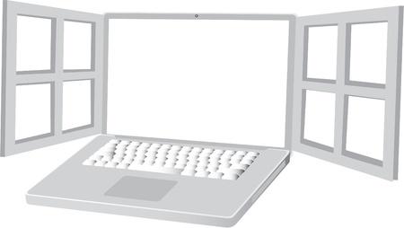 open display of laptop Stock Vector - 11495890