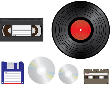 playback: old media for recording  playback - illustration