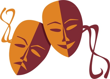 globe theatre: Theatre masks lucky sad - illustration Illustration