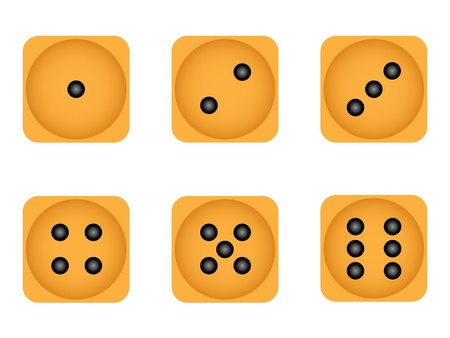 Set of six wooden playing dices Vector