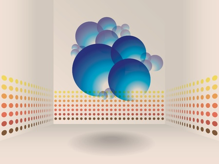 abstract room background with stripes on walls and glossy spheres Stock Vector - 11496236