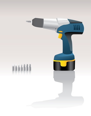 Blue Cordless Drill realistic illustration Vector