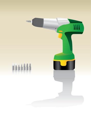 Green Cordless Drill realistic illustration Vector