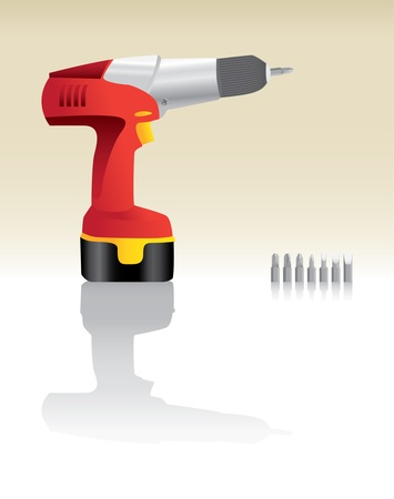 electric hole: Red Cordless Drill realistic illustration