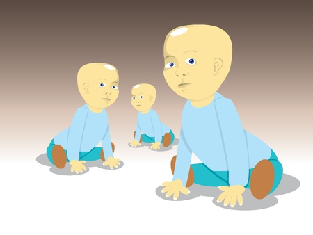 crawling: siting children