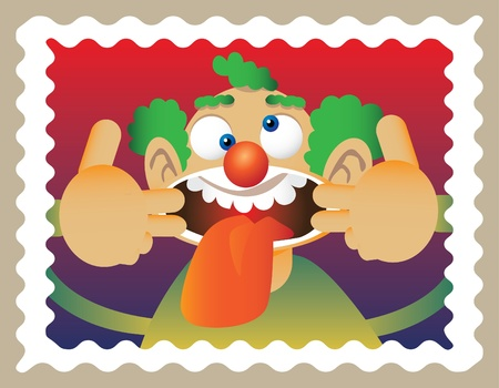 doodle clown in stamp - illuatration Vector