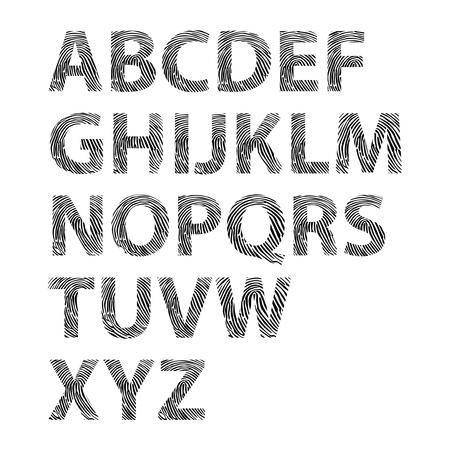 empreintes digitales: lettres de l'alphabet d'empreintes digitales - illustration